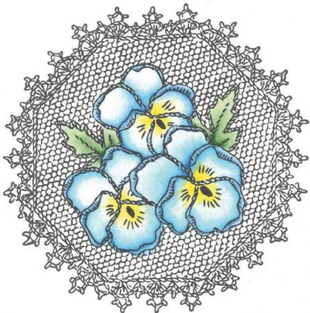 Pansy & Lace Cling Rubber Stamp Set From Marianne Design
